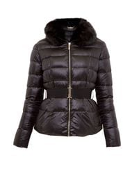 Ted Baker | Black Junnie Faux Fur Collar Quilted Jacket | Lyst