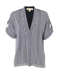 Michael Kors   White Longsleeve Striped Blouse Top   Lyst