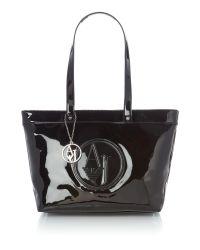 Armani Jeans   Black Vernice Tote Bag   Lyst