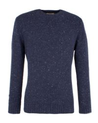 Gibson | Blue Chunky Crew Neck Donegal Sweater for Men | Lyst