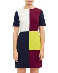 Ted Baker - Purple Ardell Colour Block Shift Dress - Lyst