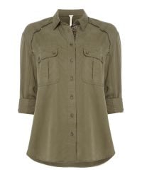 Free People | Green Off Campus Buttondown 3/4sleeves Top In Moss | Lyst