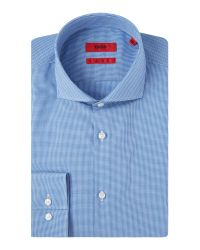 HUGO | Blue Jason Slim Fit Micro Gingham Shirt for Men | Lyst