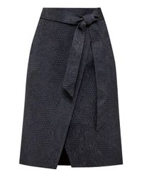 Ted Baker. Women's Black Soloaa Jacquard Wrap Skirt
