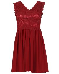 Tenki   Red Sleeveless Laced Top Plain Party Dress   Lyst