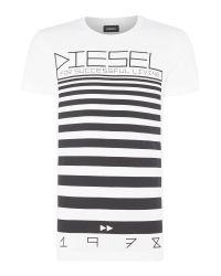 DIESEL | White Graphic Lines T-shirt for Men | Lyst