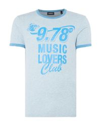 DIESEL | Blue Music Lovers Club Graphic T-shirt for Men | Lyst