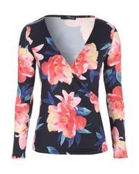 Jane Norman | Multicolor Long Sleeve Wrap Top | Lyst