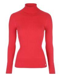 Jane Norman | Red Skinny Rib Roll Jumper | Lyst