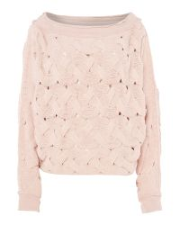 Free People | Pink Relaxed Fit Cable Knit Jumper In Rose | Lyst