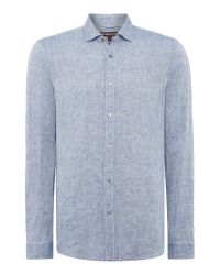Michael Kors | Blue Slim Fit Yarn Dyed Linen Look Shirt for Men | Lyst