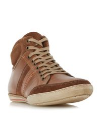 Dune | Brown Shandy Padded Collar High Top Trainers for Men | Lyst