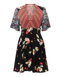 Free People   Mix It Up Printed Longsleeve Mini Dress In Black   Lyst