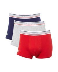 Lacoste   White 3 Pack Colour Trunks for Men   Lyst