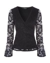 Jane Norman | Black Lace Wrap Top | Lyst