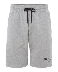 Nicce London - Gray Grey Logo Jog Shorts for Men - Lyst
