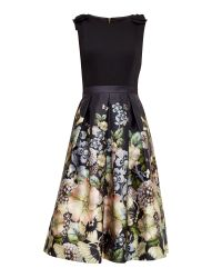 Ted Baker | Black Felcity Gem Gardens Midi Dress | Lyst