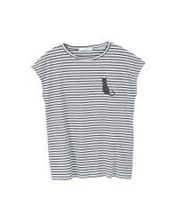 Mango | Gray Striped Cotton T-shirt | Lyst