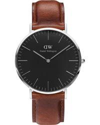 Daniel Wellington   Brown Classic Blk St Mawes 40 Silver Watch   Lyst