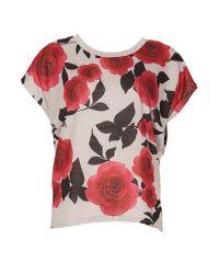 Izabel London | Red Rose Print Batwing Top | Lyst