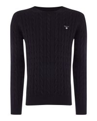 Gant - Black Crew Neck Cable Knit Jumper for Men - Lyst