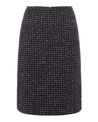 Tahari - Blue Navy And Gold Boucle Pencil Skirt - Lyst