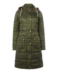 Barbour - Green Long Quilted Coat With Fur Trim Hood - Lyst
