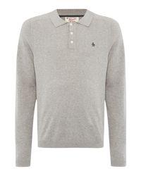 Original Penguin - Gray Long Sleeve Sweater Polo for Men - Lyst