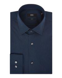 BOSS - Blue Men's Slim Fit Spot Texture Shirt for Men - Lyst