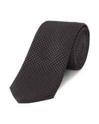 HUGO - Black Textured Square Print Silk Tie for Men - Lyst