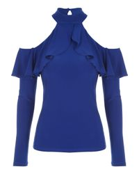 Jane Norman - Blue Ruffle Cold Shoulder Top - Lyst