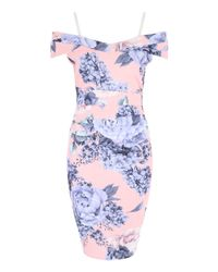 Jane Norman - Blue Hydrangea Print Bardot Dress - Lyst