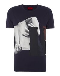 HUGO - Blue Men's Dack Abstract Graphic T-shirt for Men - Lyst