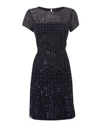 Adrianna Papell - Blue Evening Short Beaded With Peal Dress - Lyst