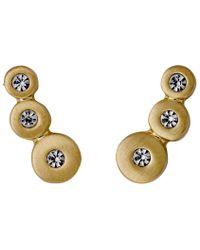 Pilgrim - Metallic Bella Gold Plated White Earrings - Lyst