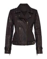 Label Lab | Black Studded Leather Jacket | Lyst