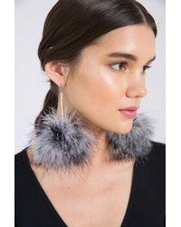 Tuleste | Black And White Marabou Striped Pom Pom Earrings | Lyst