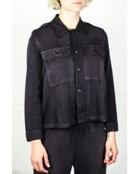 443f83cb22 Lyst - Amo Washed Black Army Ruffle Army Shirt Jacket in Black