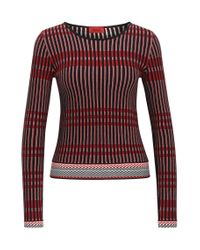 HUGO | Multicolor Slim-fit Sweater In Three-colour Jacquard | Lyst
