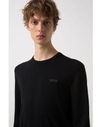 HUGO - Black Crew-neck Crepe Sweater With Logo Badge for Men - Lyst