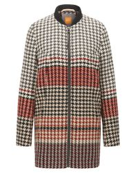 BOSS Orange - Multicolor Regular-fit Coat In Houndstooth Jacquard - Lyst