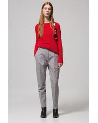HUGO - Red Cotton Sweater With Logo-tape Zipped Seam - Lyst