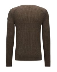 HUGO - Green Ribbed Sweater In Cotton And Wool for Men - Lyst