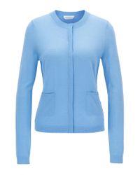 BOSS - Blue Virgin Wool Cardigan | Fuyuma - Lyst