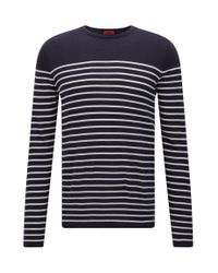 HUGO - Blue Slim-fit Sweater With Nautical Stripe for Men - Lyst