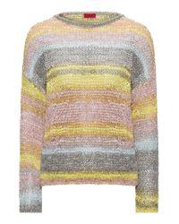 HUGO - Multicolor Cropped Sweater In Multicolour Tape Yarn - Lyst