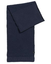 BOSS Orange   Blue Structured Scarf In Knitted Cotton for Men   Lyst