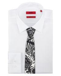 HUGO - Black Straight-cut Tie In Printed Silk Twill for Men - Lyst