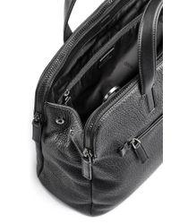 HUGO - Black Document Case In Buffalo-embossed Leather for Men - Lyst