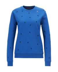 BOSS - Blue Relaxed-fit Sweater In French Terry - Lyst